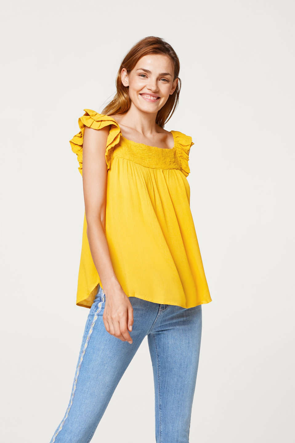 Esprit - Crinkled-effect, A-line blouse top with frill details