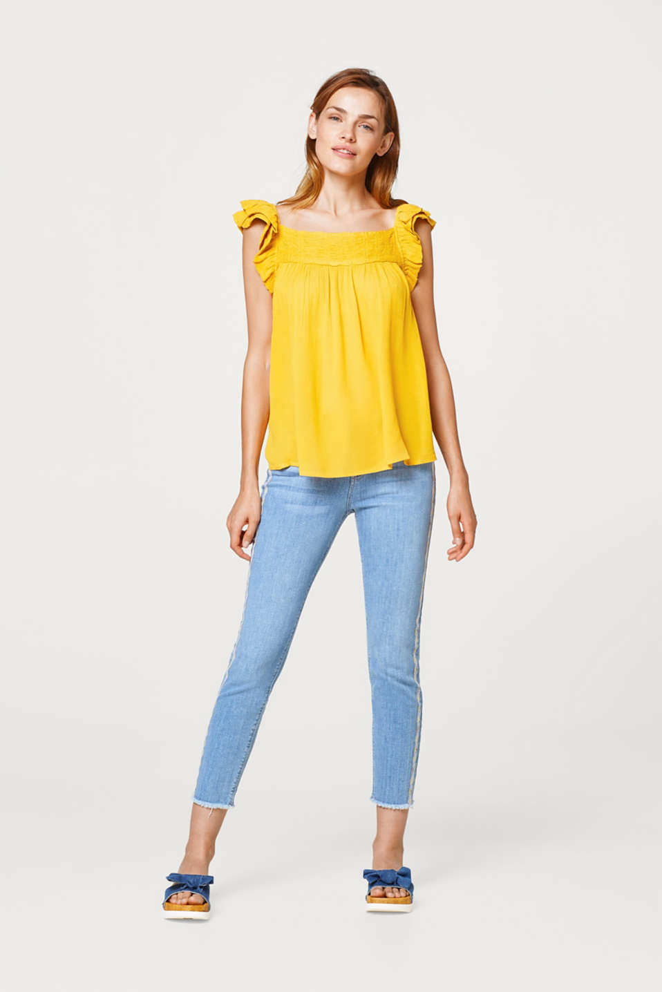 Crinkled-effect, A-line blouse top with frill details