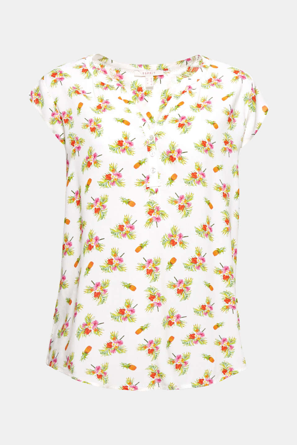 The all-over printed motifs add a colourful summer flair to this blouse with a Henley neckline.