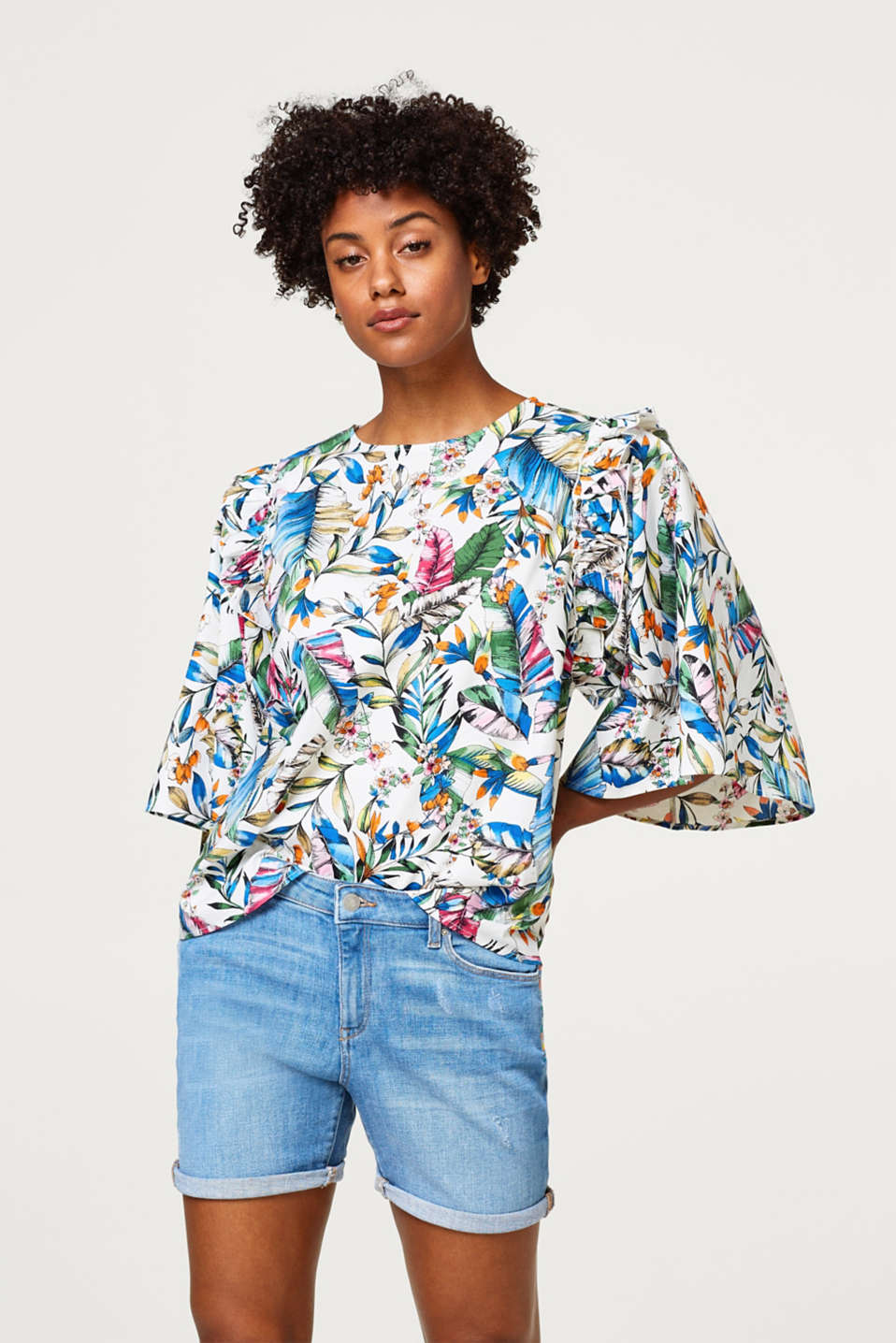 Esprit - Printed blouse in stretch cotton