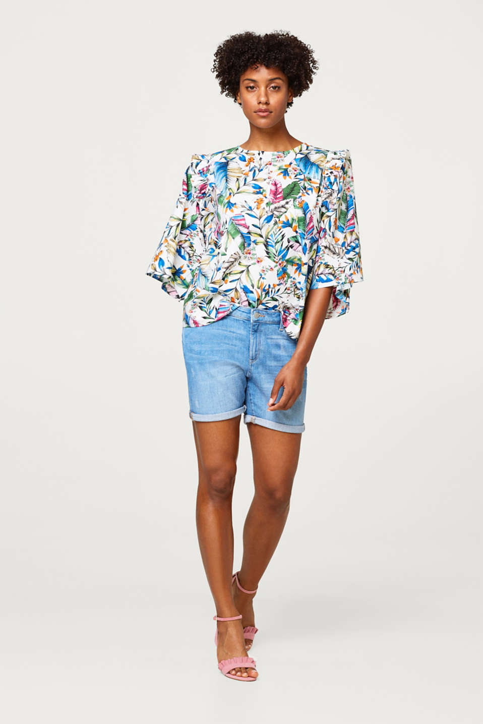 Printed blouse in stretch cotton