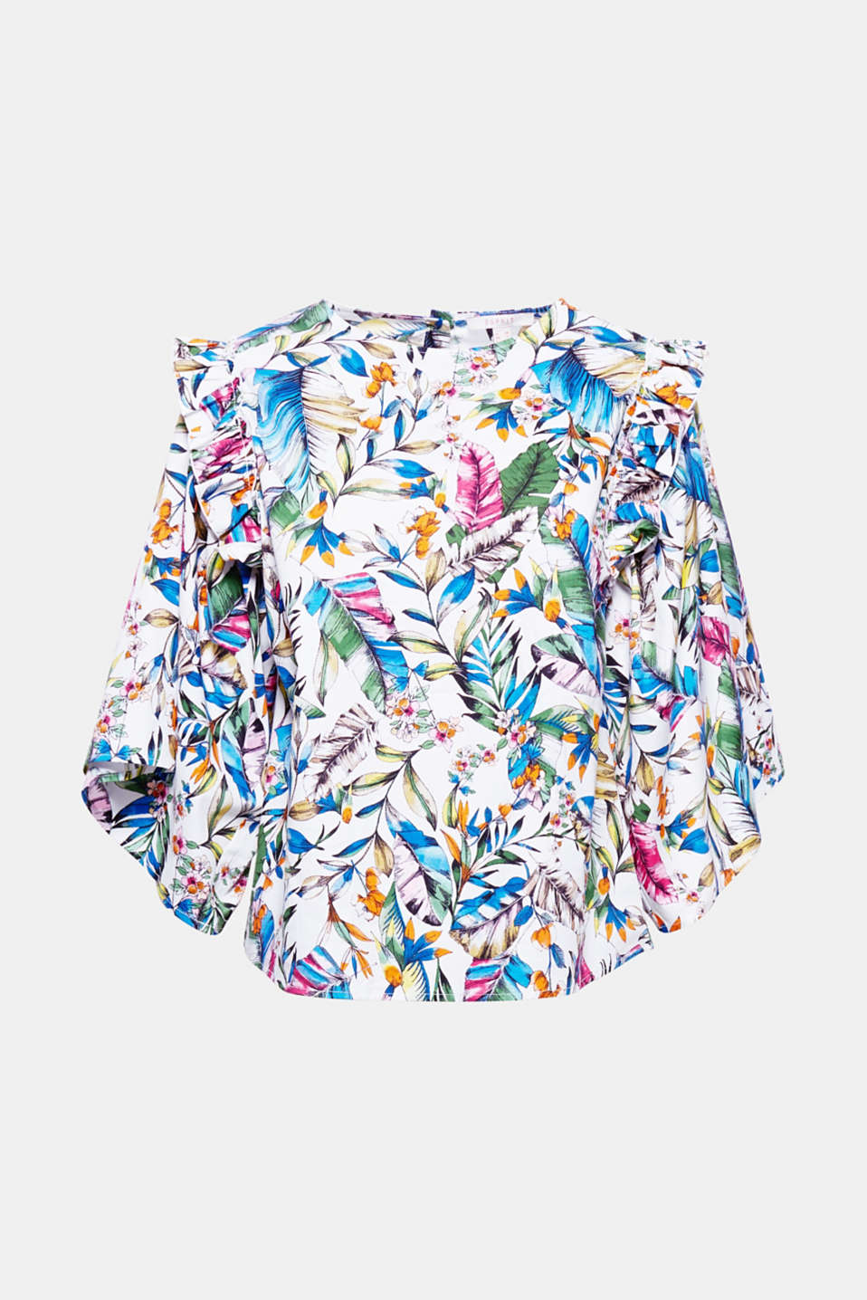 Summery colours make this stretch blouse with extra wide sleeves and decorative frills a stylish fashion piece!
