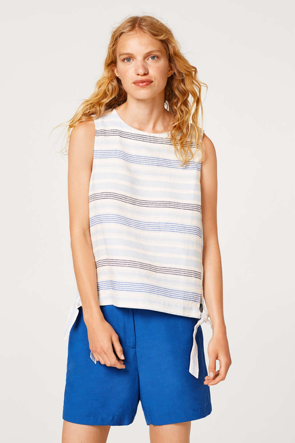 Esprit - Made of blended linen: blouse top with stripes