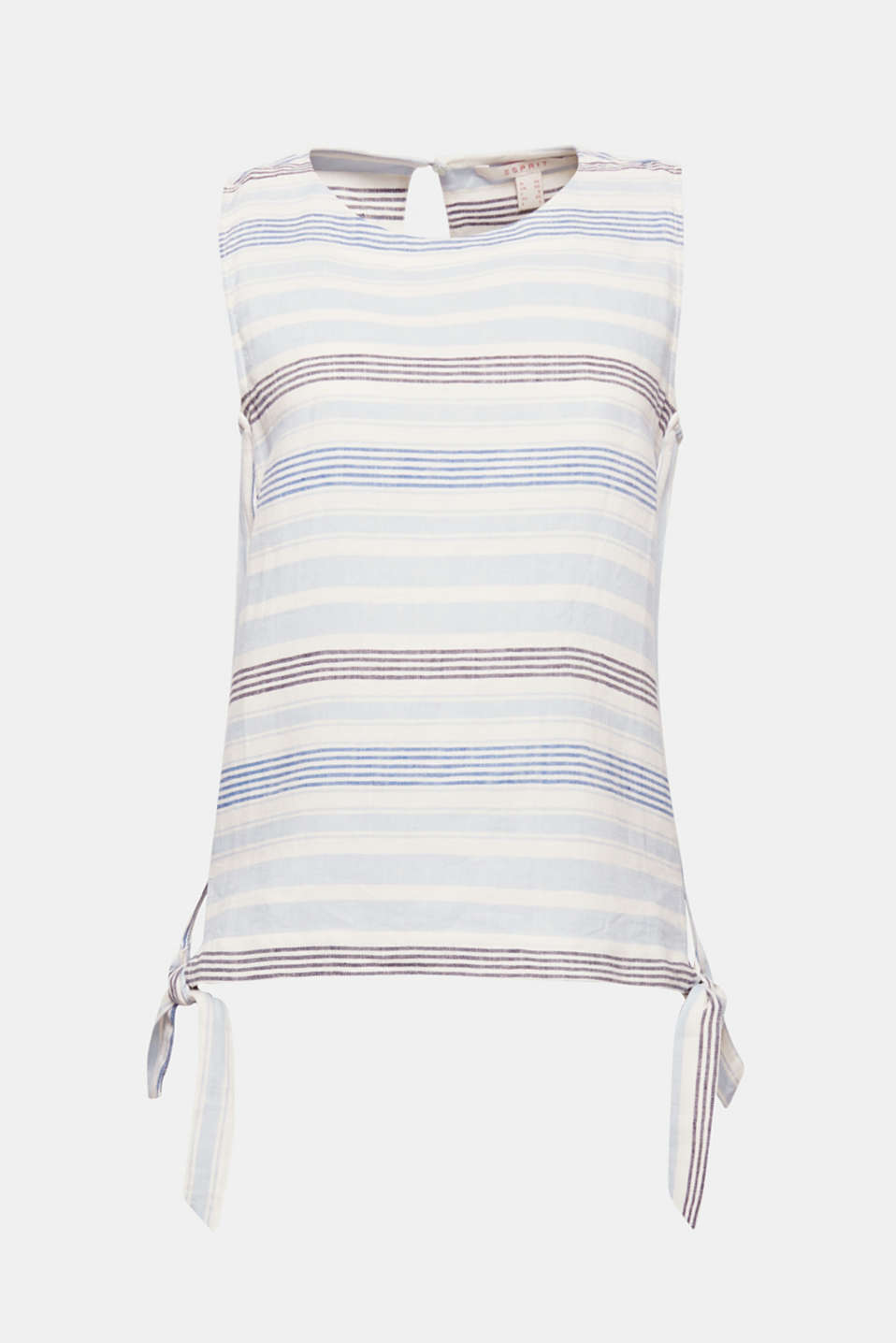 This sleeveless blouse in pleasantly cooling blended linen is the perfect piece for staying comfortable on hotter days. Trendy knotted details and a fresh striped pattern round off the style.