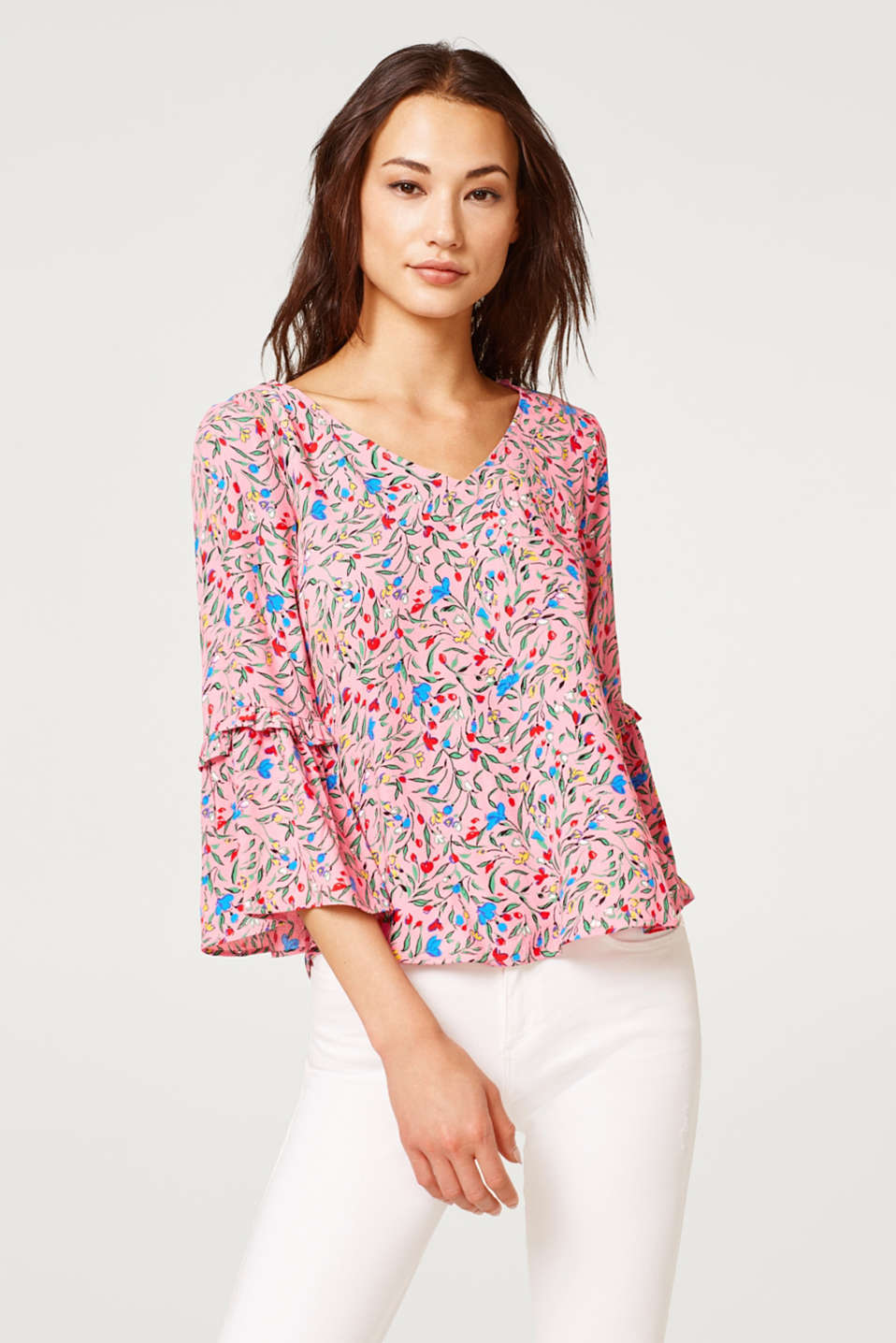 Esprit - Print blouse with trumpet sleeves