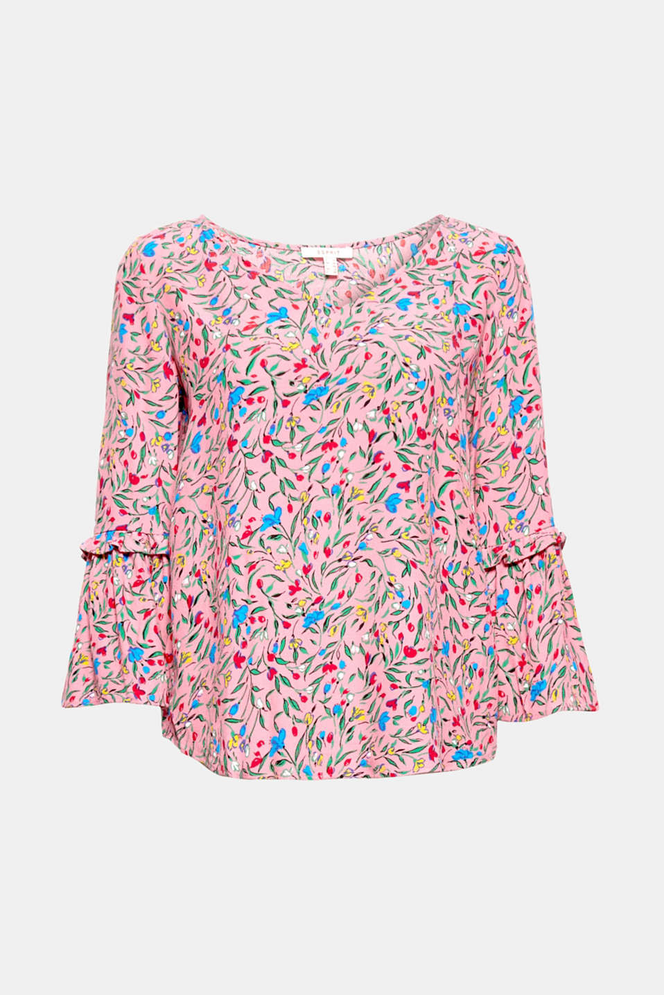 Put on romantic charm with this flowing, floral print blouse with cropped trumpet sleeves.