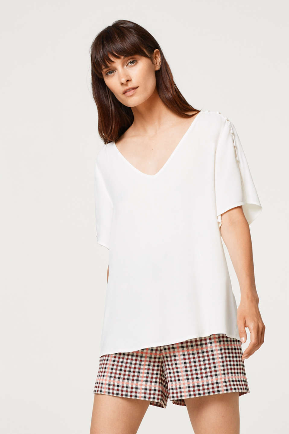 Esprit - Crêpe blouse top with embellished sleeves