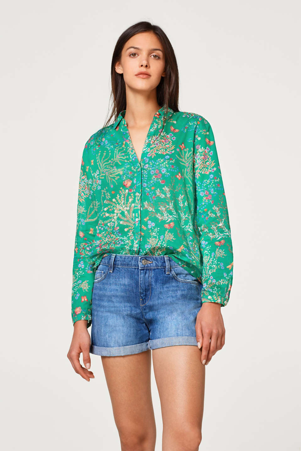 Esprit - Blouse with a floral print, 100% cotton