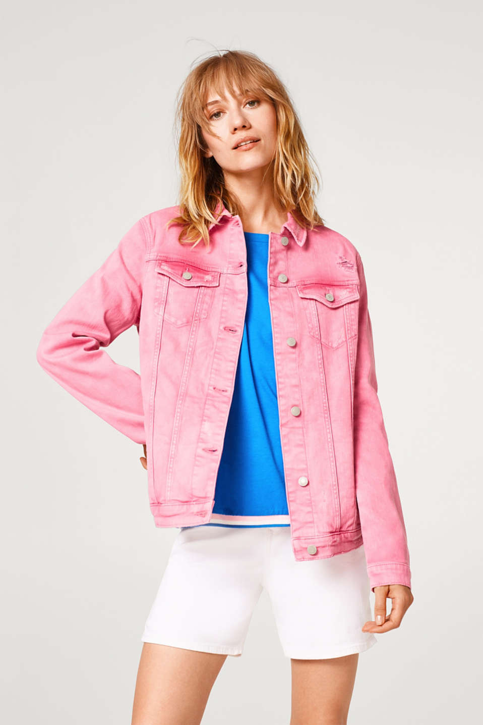 Esprit - Oversized denim jacket in a distressed look