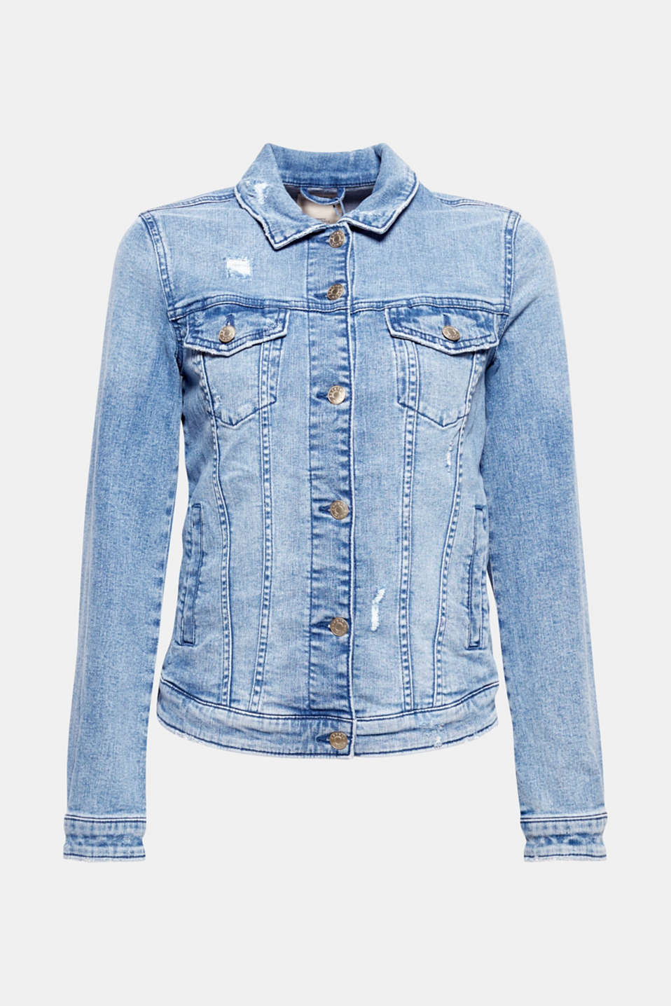 This femininely fitted denim jacket in robust denim with stretch for comfort and vintage effects has what it takes to become a favourite piece!