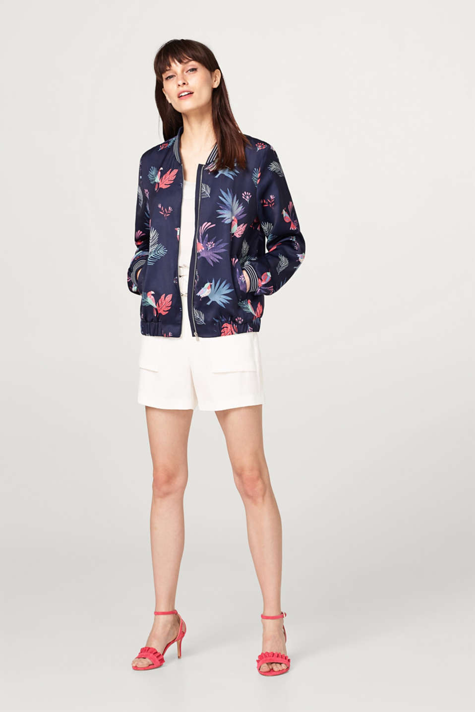 Bomber jacket with a colourful print plus ribbed cuffs and waistband