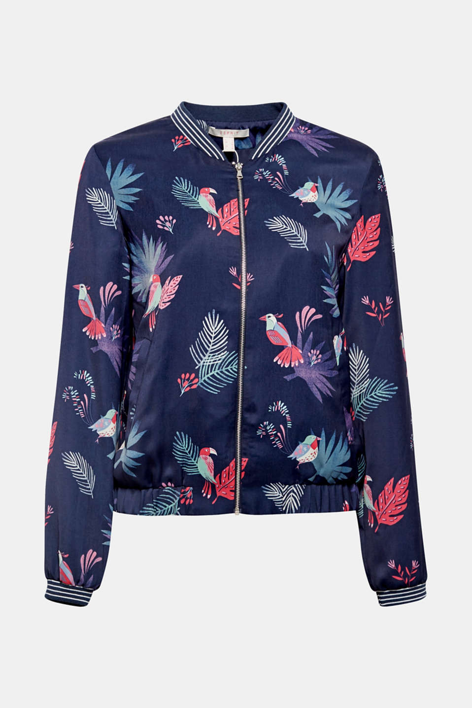 The bomber jacket with a summer look: the colourful tropical print and striped ribbed cuffs and waistband add great new twists!