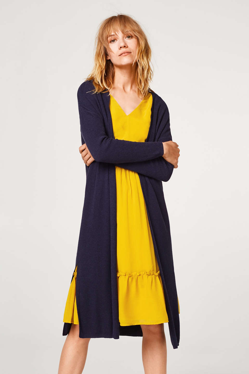 Esprit - À teneur en lin : le cardigan long finement texturé