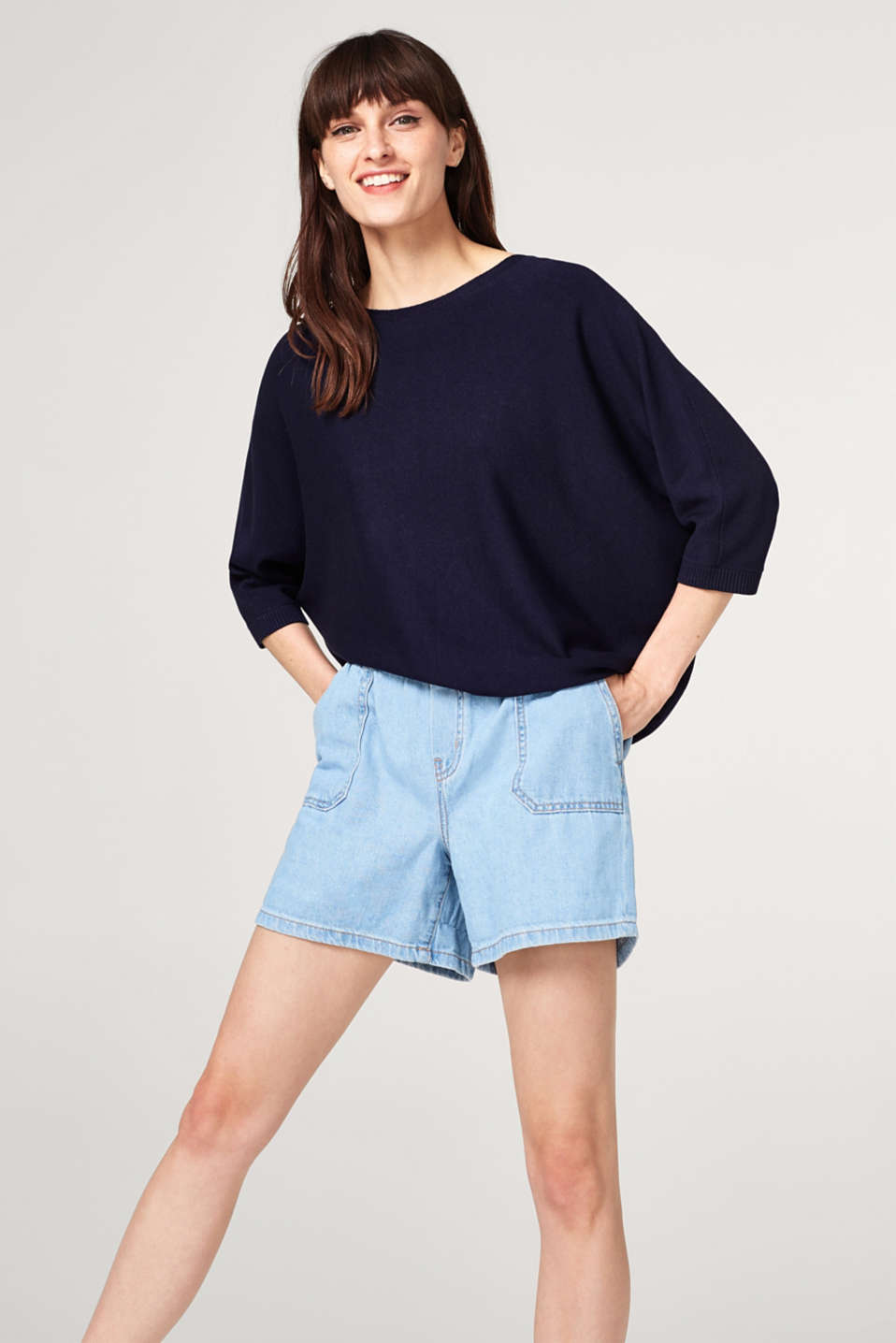 Esprit - Wide cape jumper with a back slit