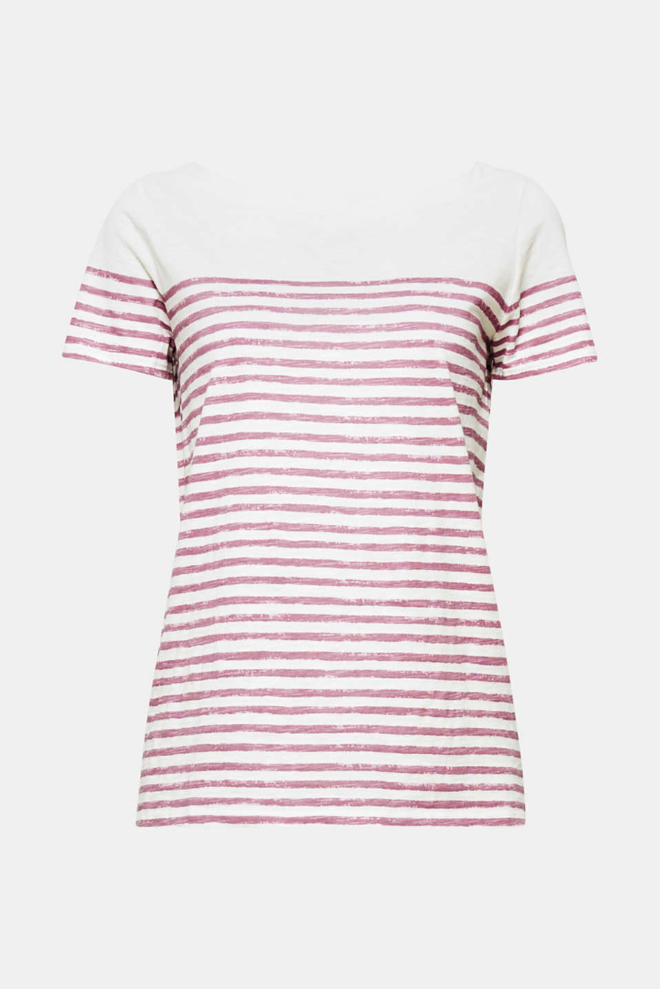 Airy jersey meets casual stripes: pure cotton slub T-shirt with a sporty, vintage print!