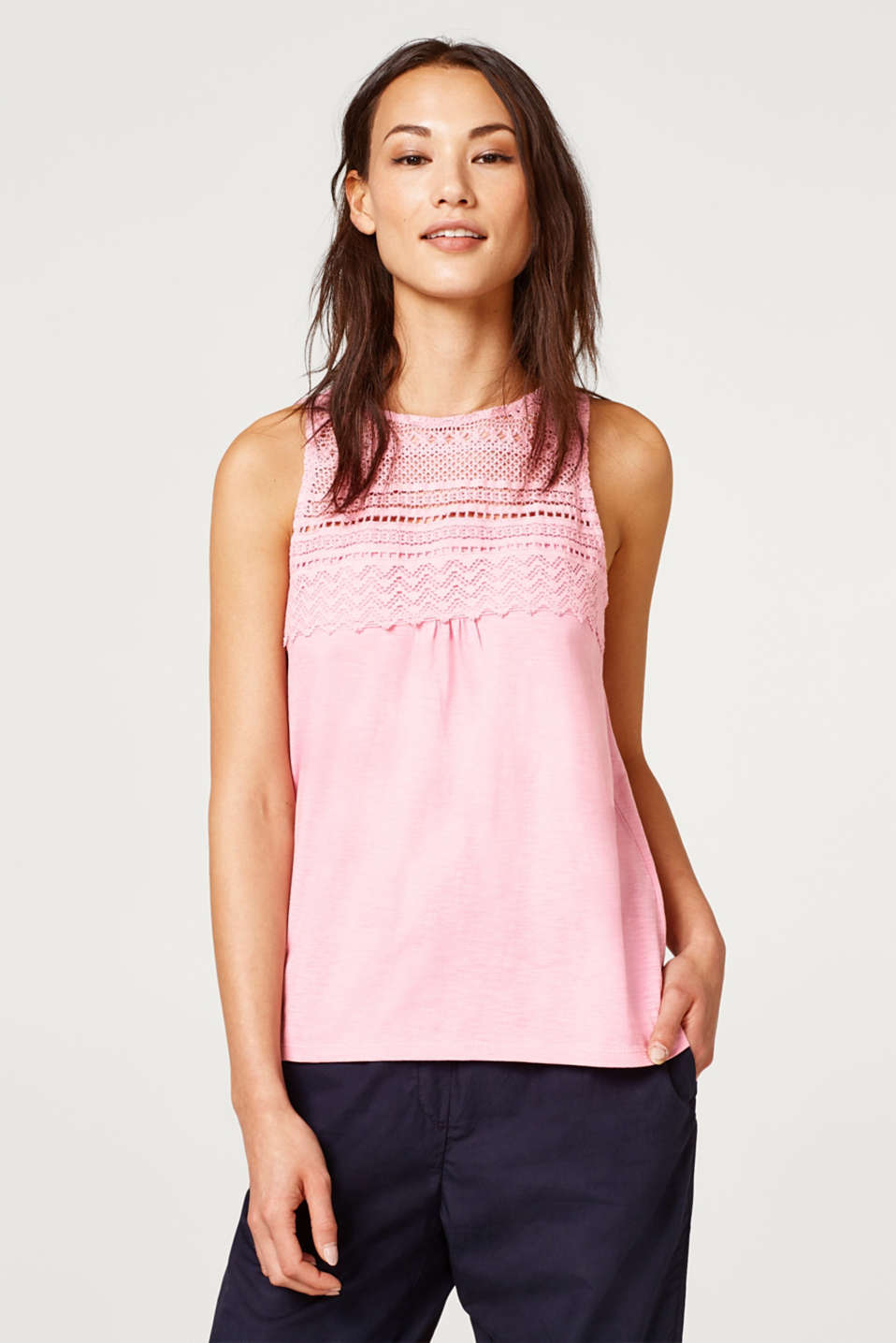 Esprit - Crocheted lace detail slub top, 100% cotton
