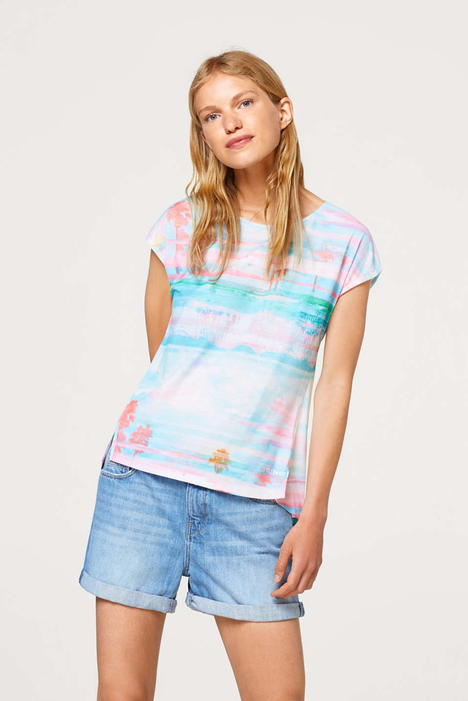 Esprit - T-shirt with colourful watercolour print
