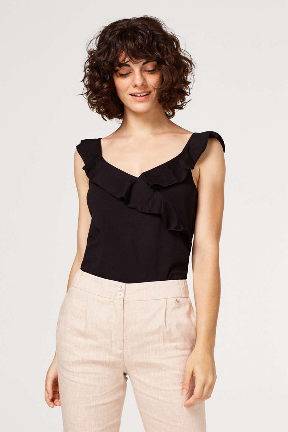 Esprit - Top with flounces, 100% cotton