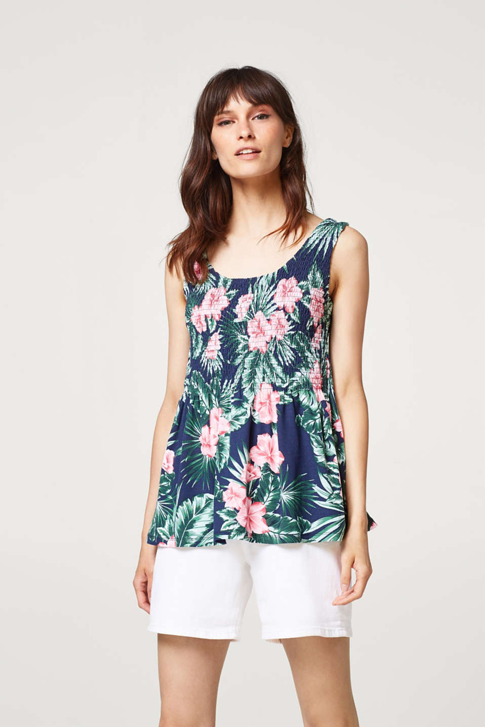 Esprit - Swirling, smocked woven top with a floral print