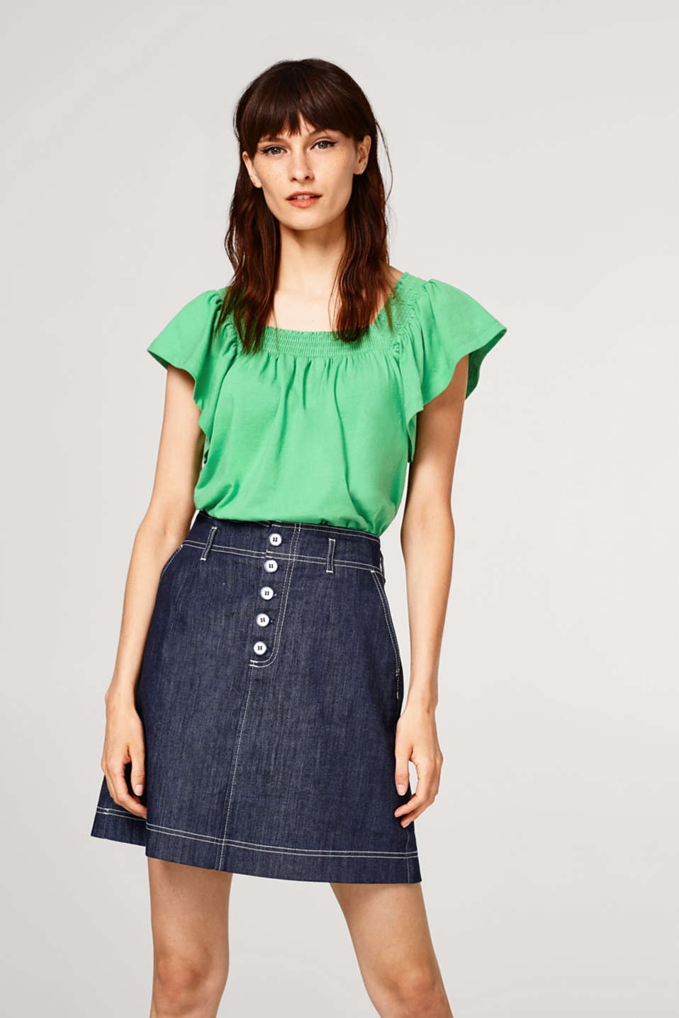 Esprit - Square neckline T-shirt with cap sleeves
