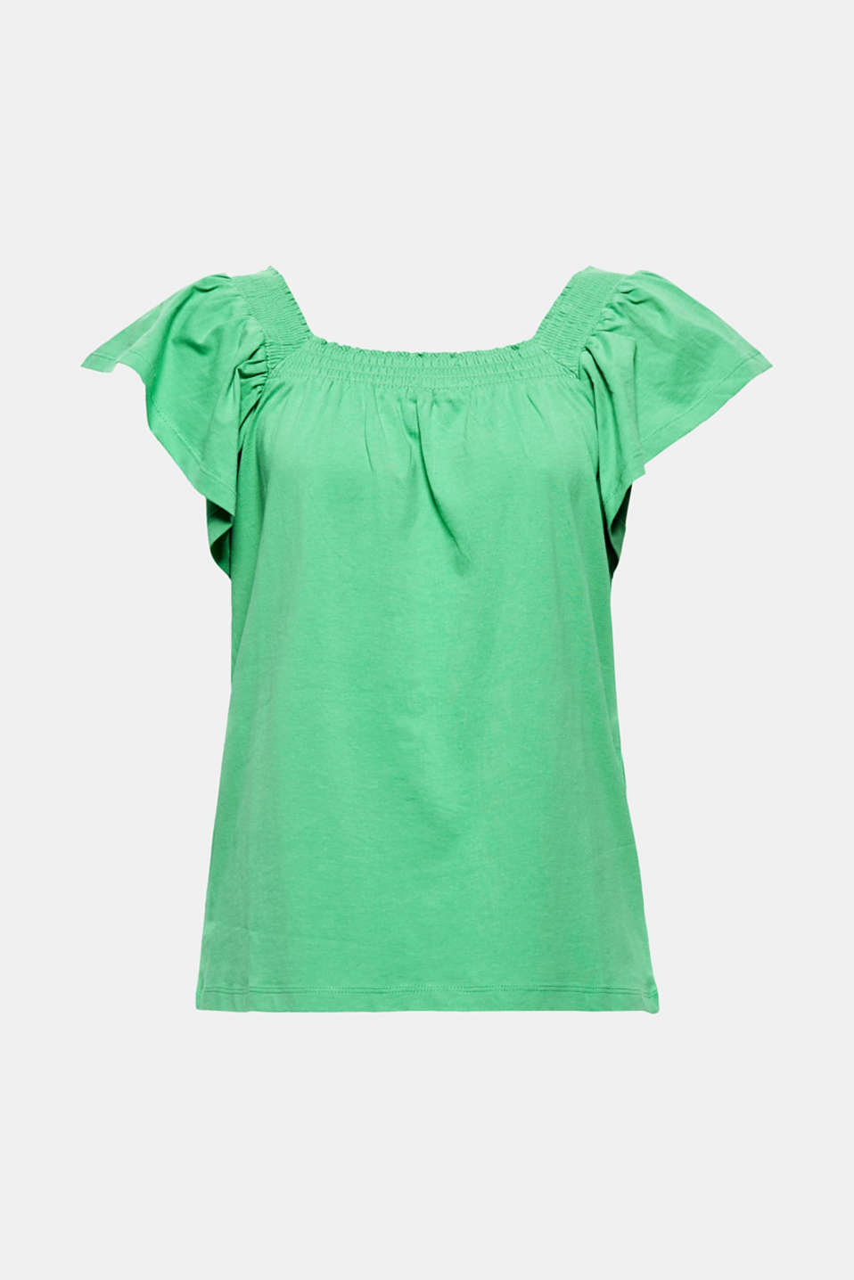 Cool summer style! The square neckline, wide cap sleeves and fashionable A-line make this lightweight T-shirt fantastically feminine and extremely eye-catching!