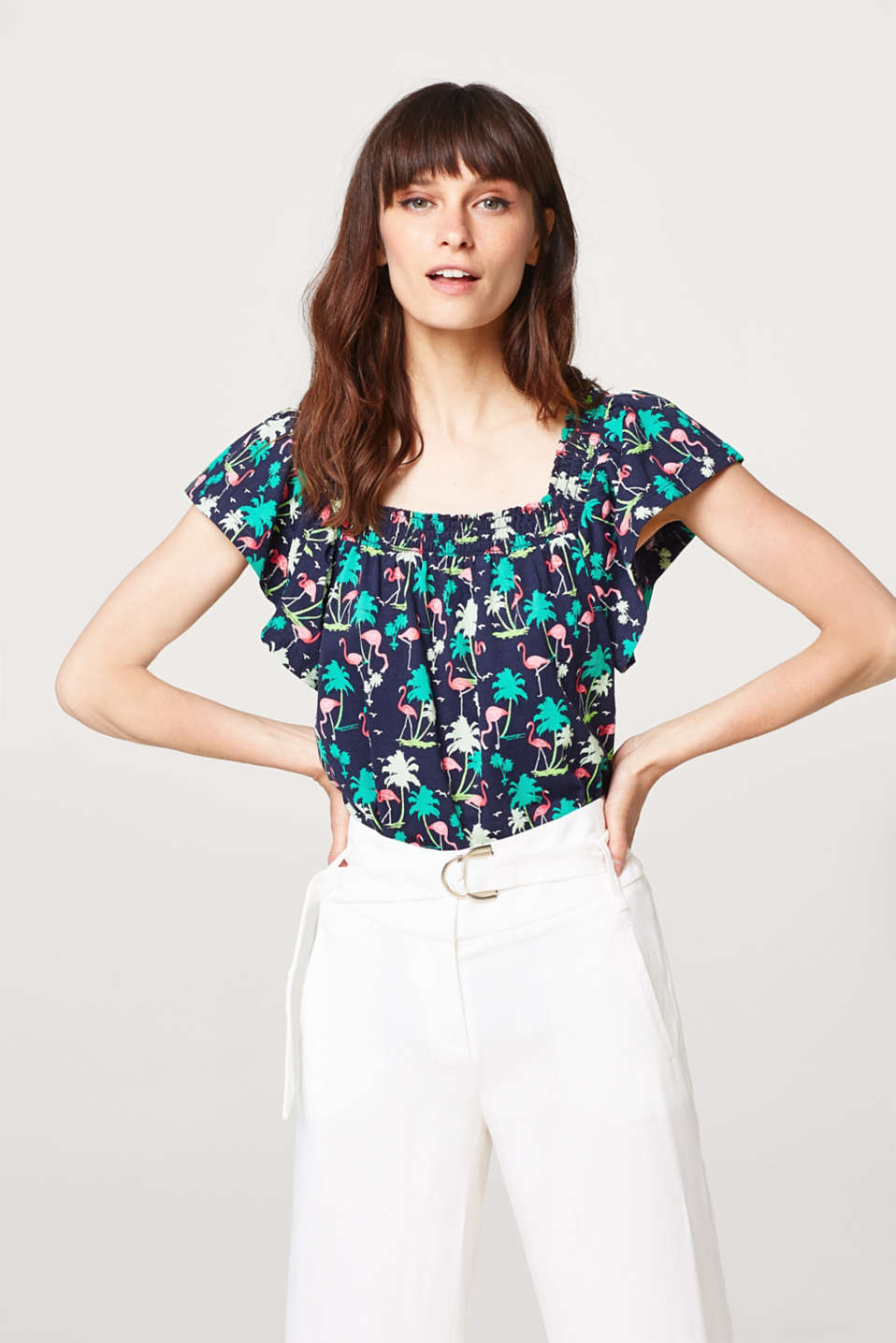Esprit - Print T-shirt with a square neckline, 100% cotton
