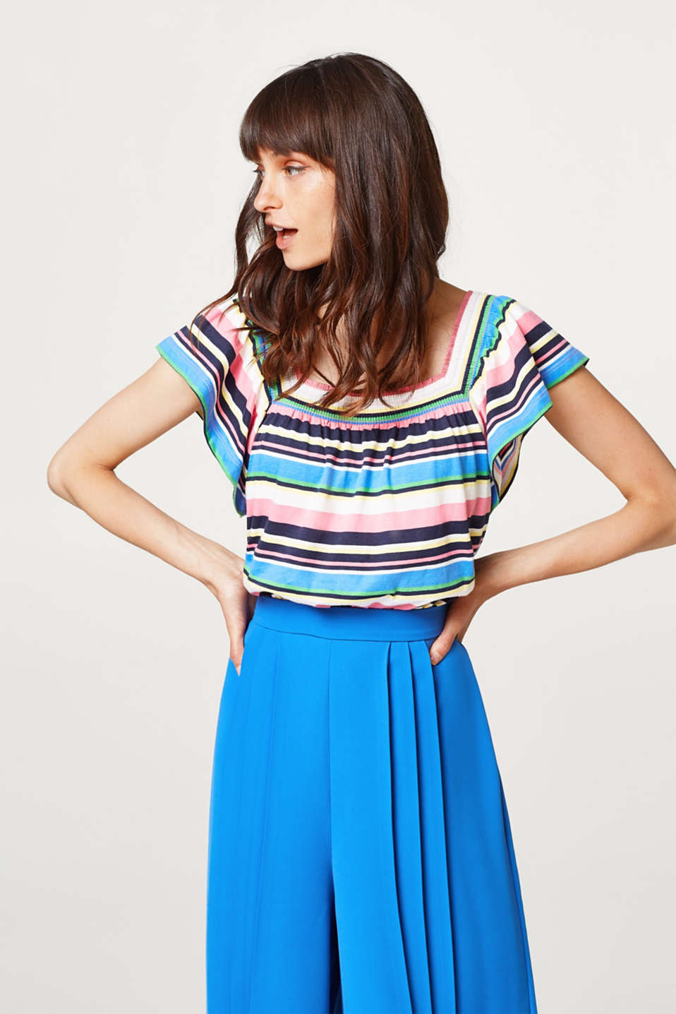 Esprit - Multi-coloured stripes and wide cap sleeves