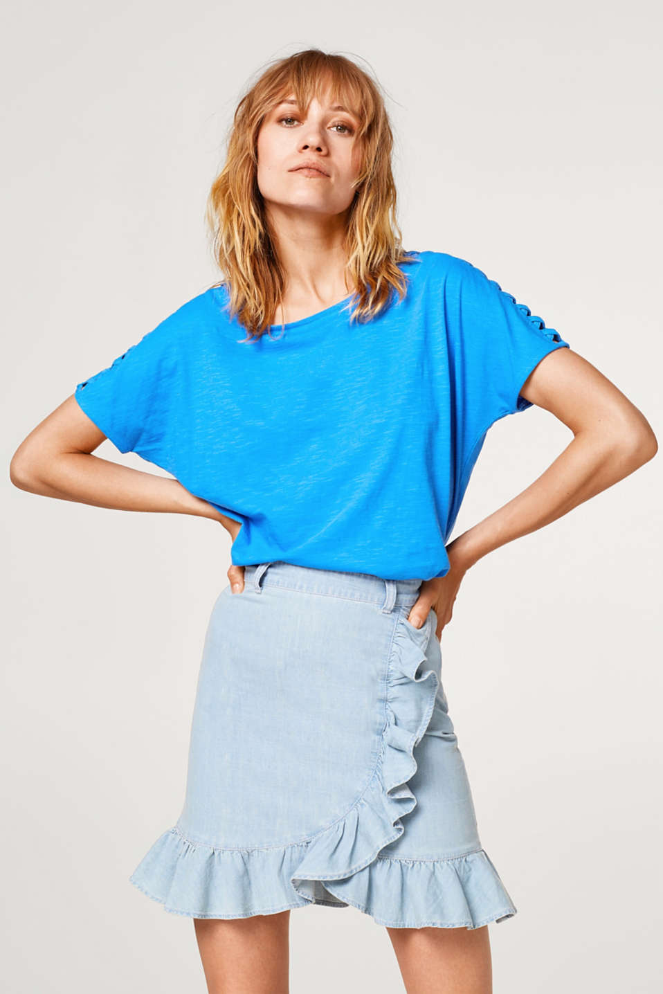Esprit - Slub top with cut-out details, 100% cotton