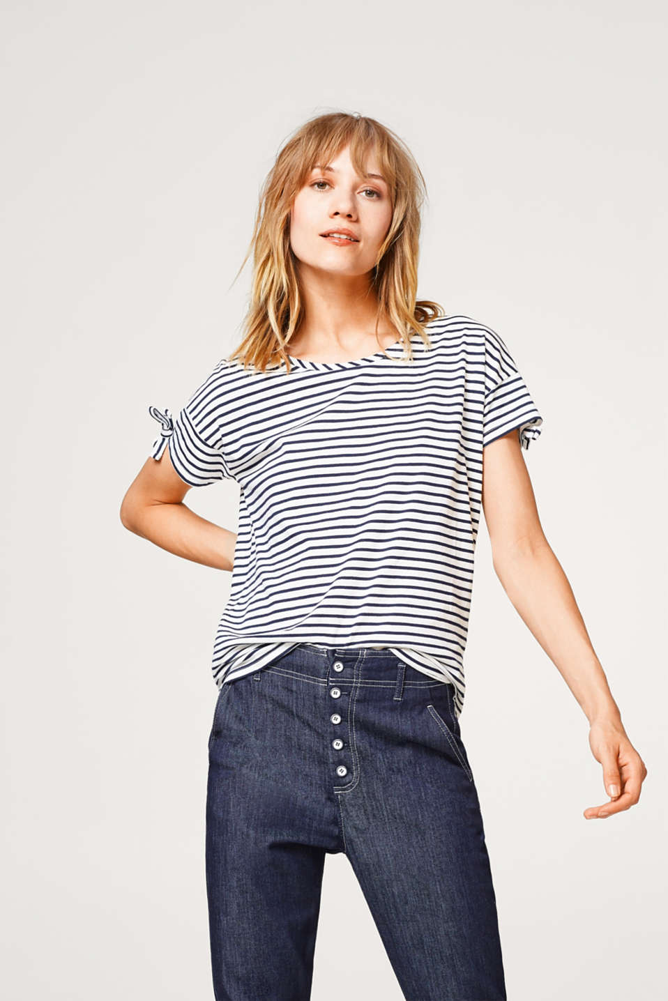 Esprit - Striped cotton T-shirt with bow details