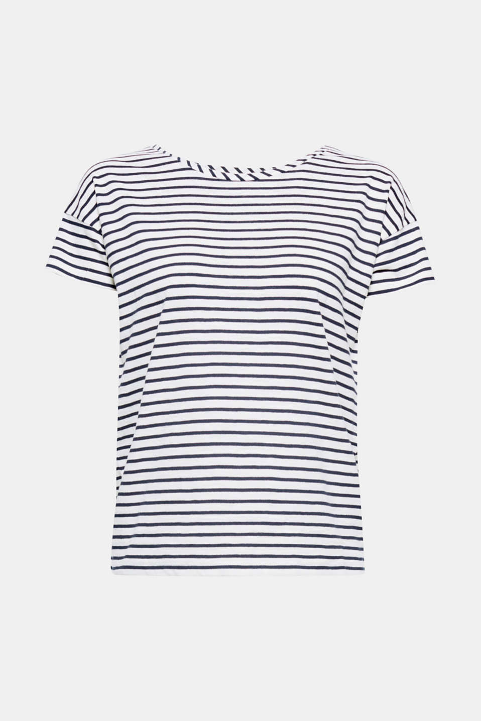 Nautical stripes meet decorative bows! The decorative bow elements on both sleeves give this cotton T-shirt its incredibly fashionable touch.