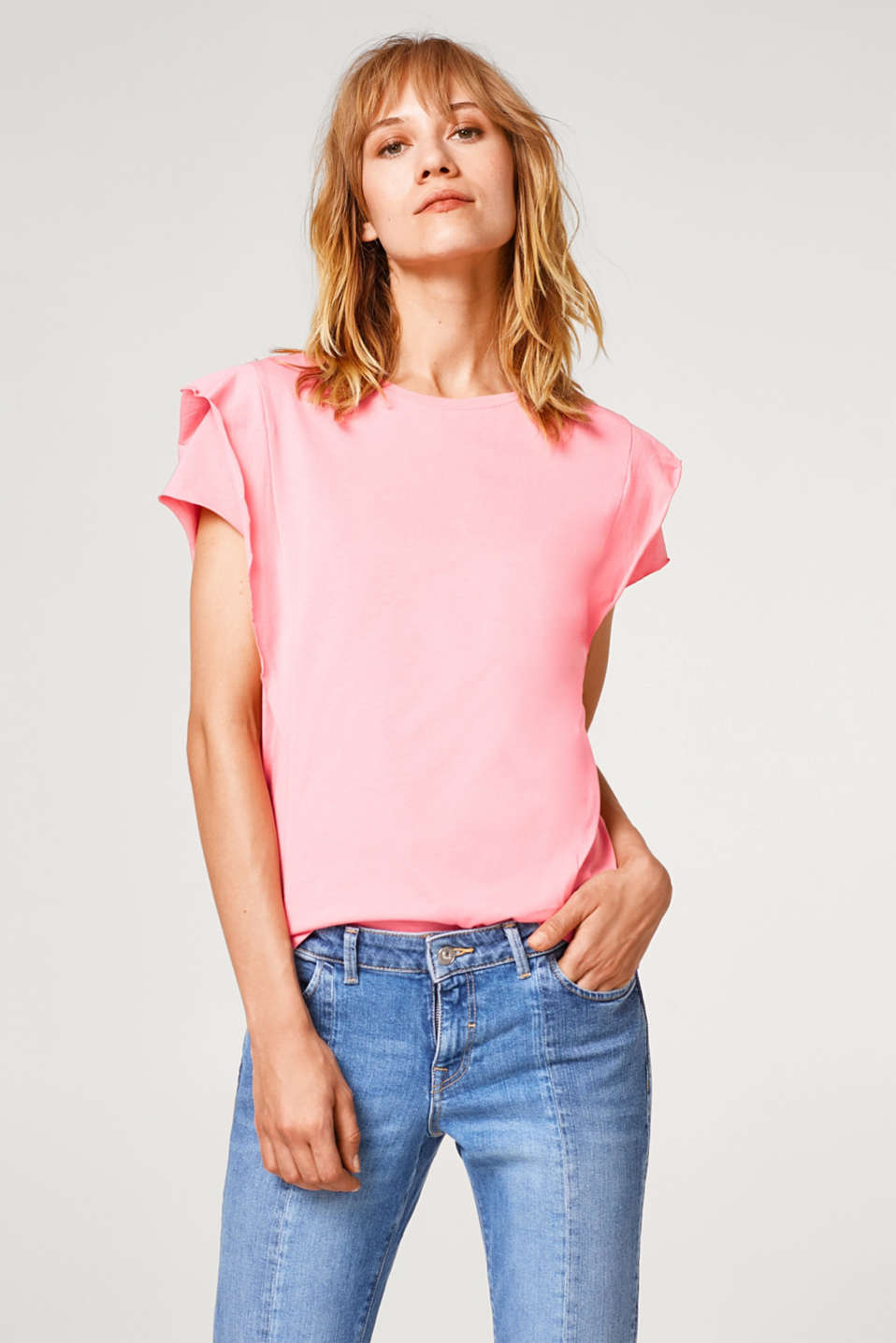 Esprit - Airy cotton T-shirt with flounces