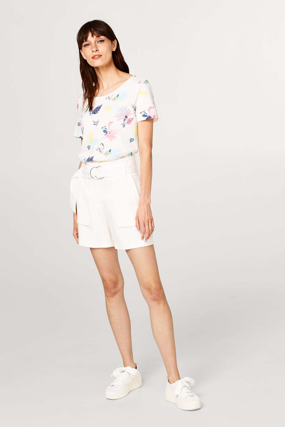Airy slub T-shirt with tropical print