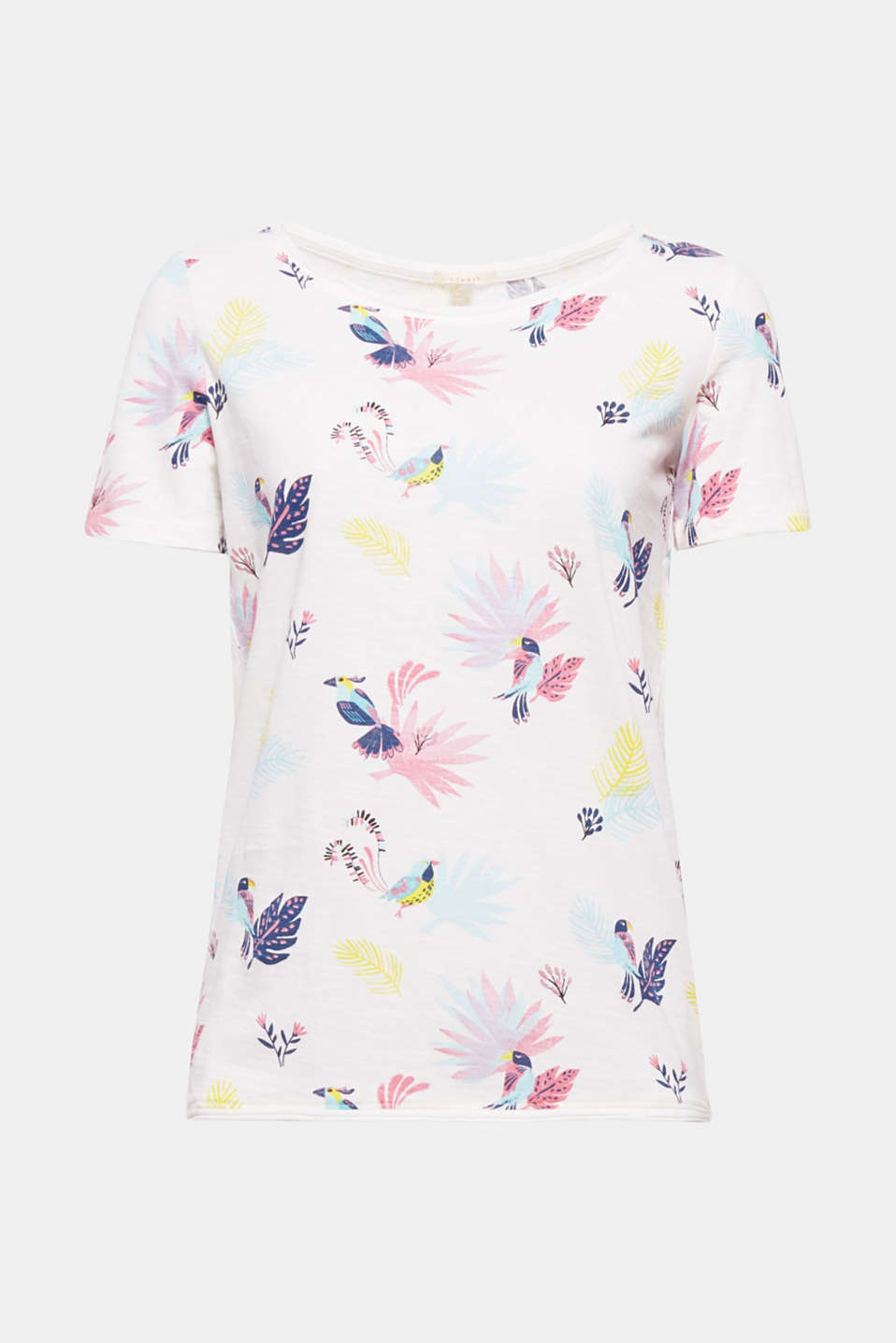 Colourful and eye-catching: Tropical print motifs may this slub T-shirt an airy, lightweight style with cheerful charm!