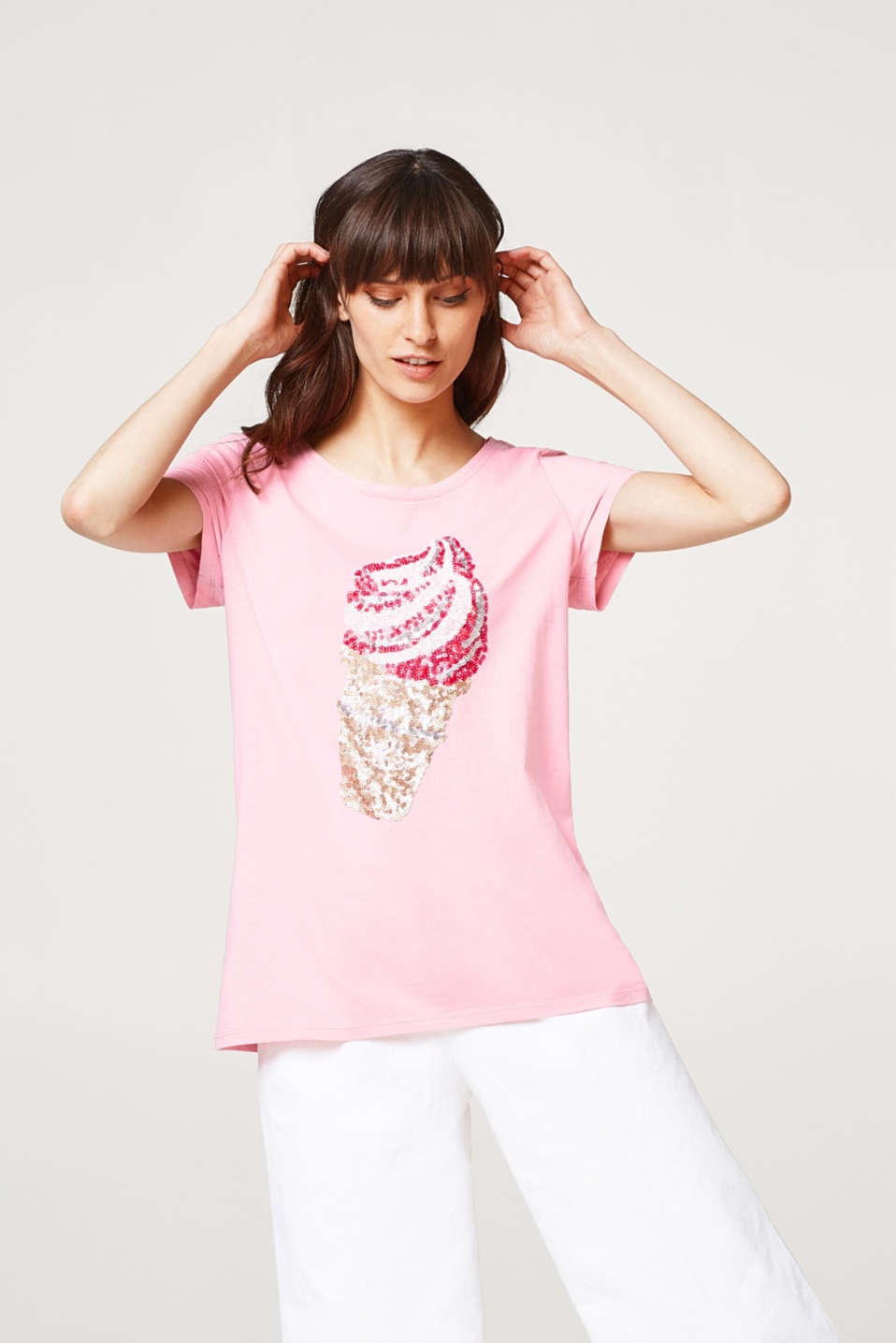Esprit - T-shirt with decorative sequins, 100% cotton