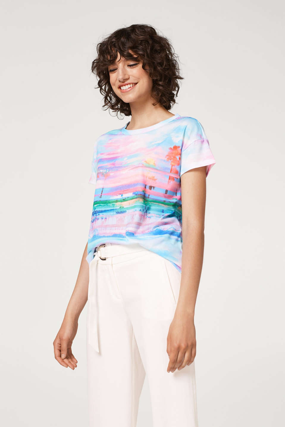 Esprit - T-shirt with a colourful watercolour photo print