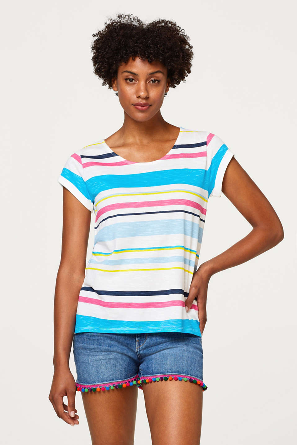 Esprit - Block stripes slub top, 100% cotton