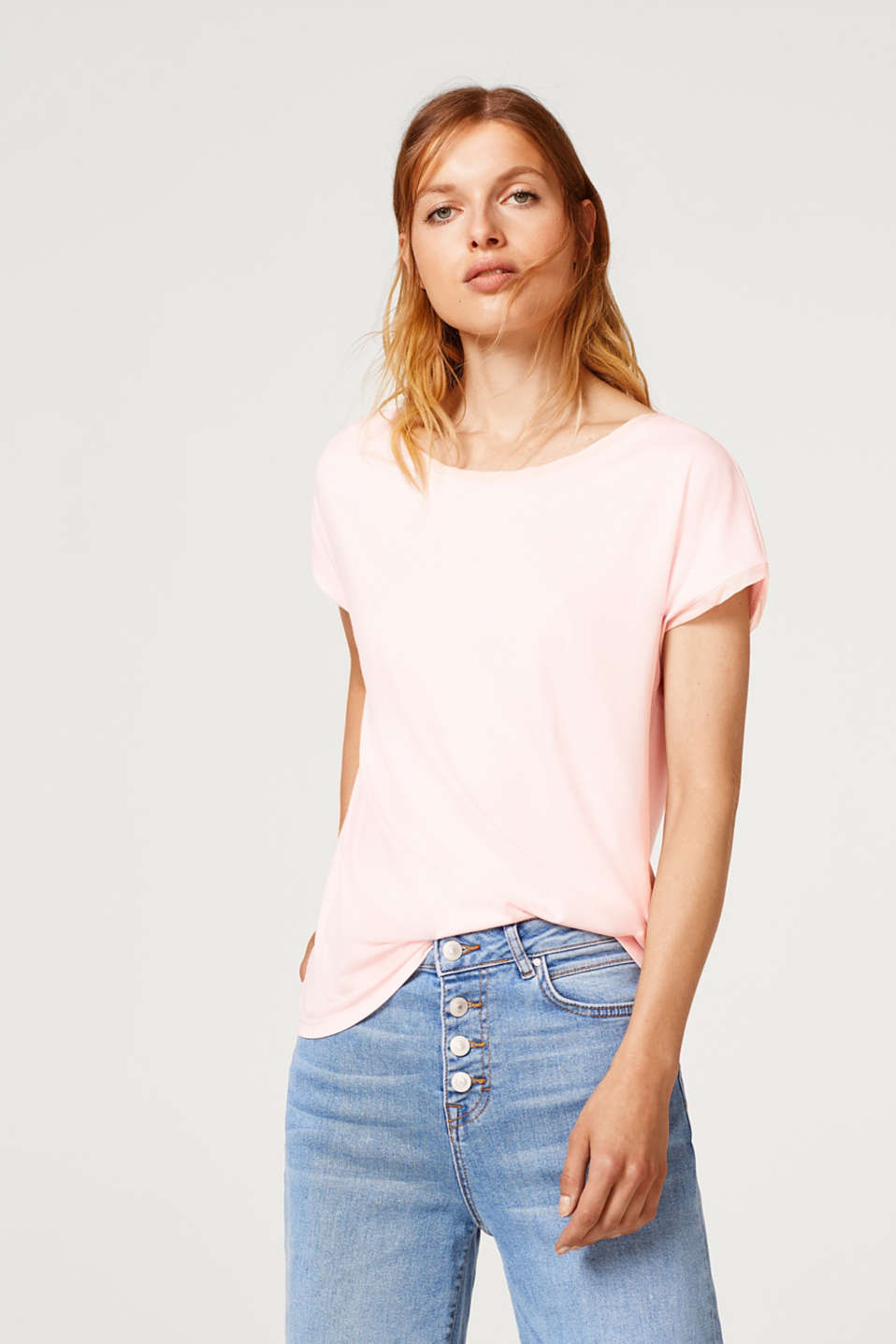 Esprit - Stretch top with chiffon trims