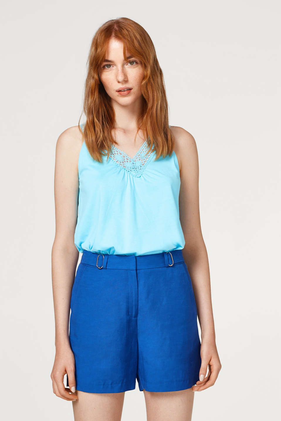 Esprit - Jersey top with crocheted lace details