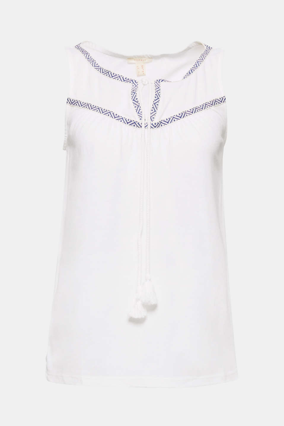 The decorative borders and tassels give this lightweight jersey top its on-trend ethnic look!