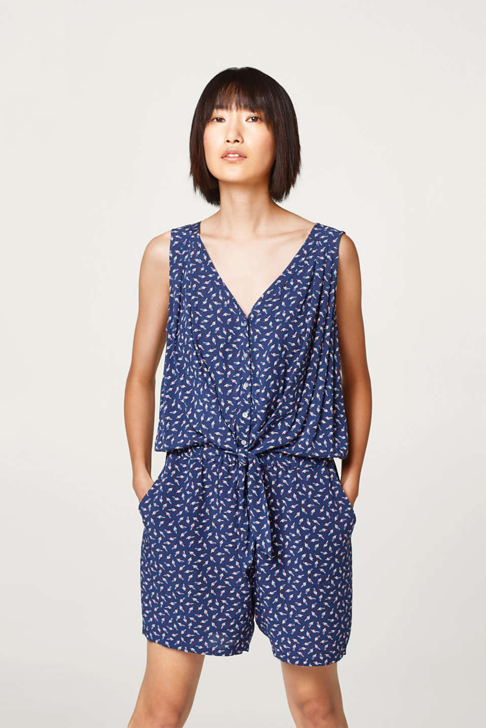 Esprit - Sleeveless playsuit with belt and bird print