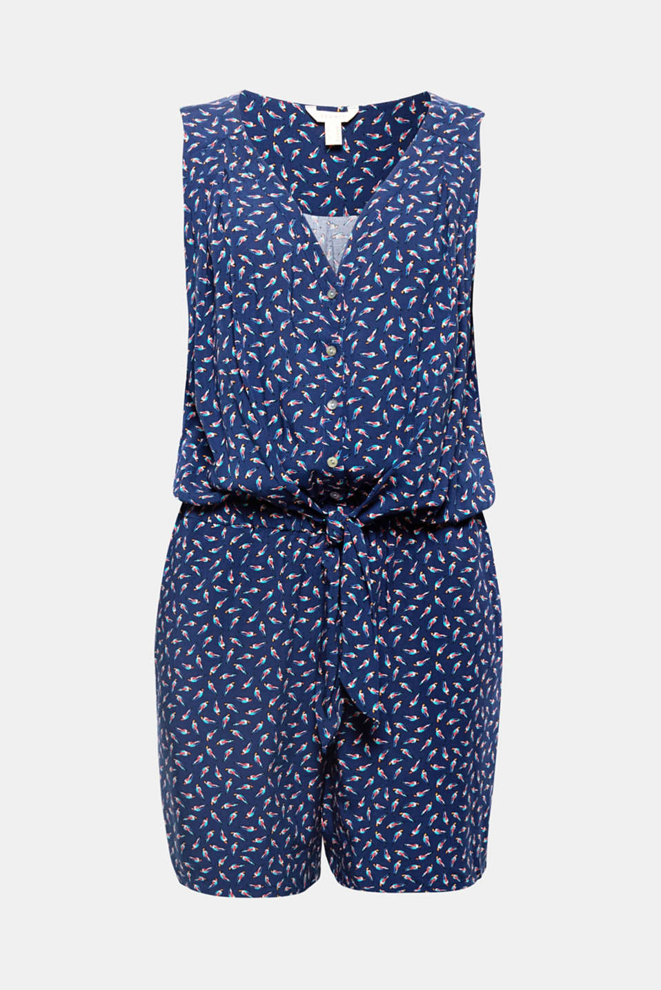 Featuring a tie-around belt and a casual button placket, a colourful bird motif gives this summer jumpsuit its charming look!