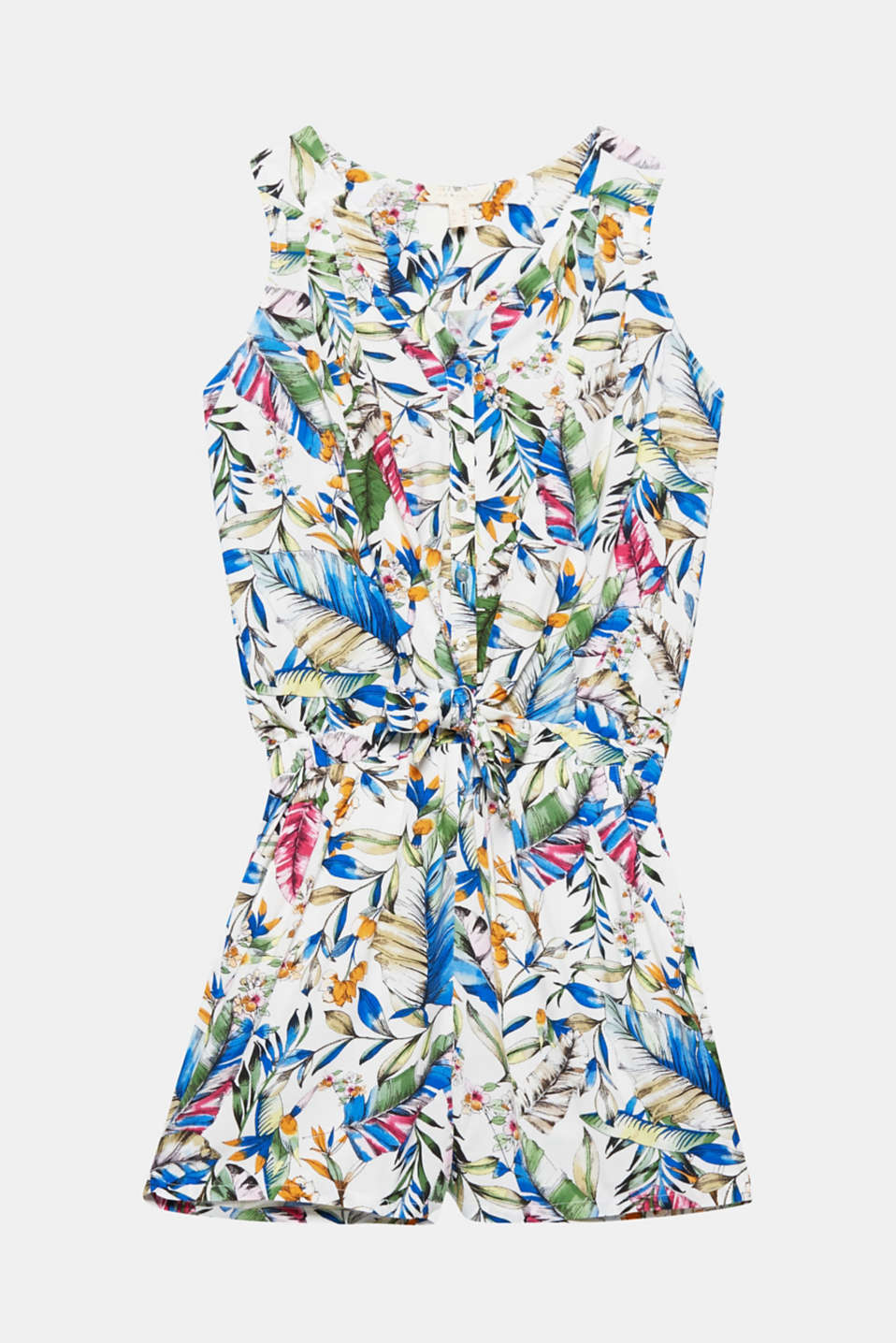 Sets the scene perfectly for the colourful tropical print: the flowing, comfortable fabric makes this jumpsuit a great summer piece!