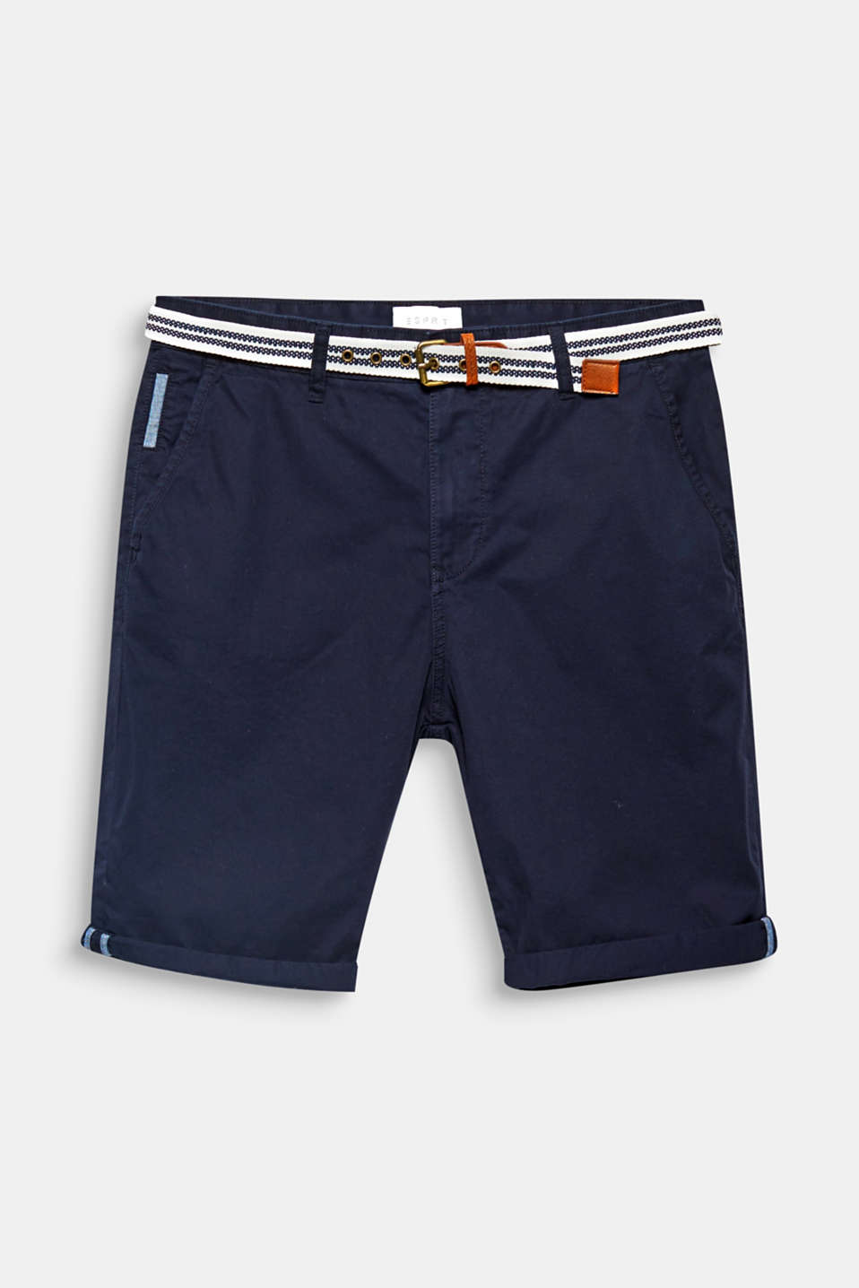 The nautical striped woven belt completes the timeless design of these chino shorts.