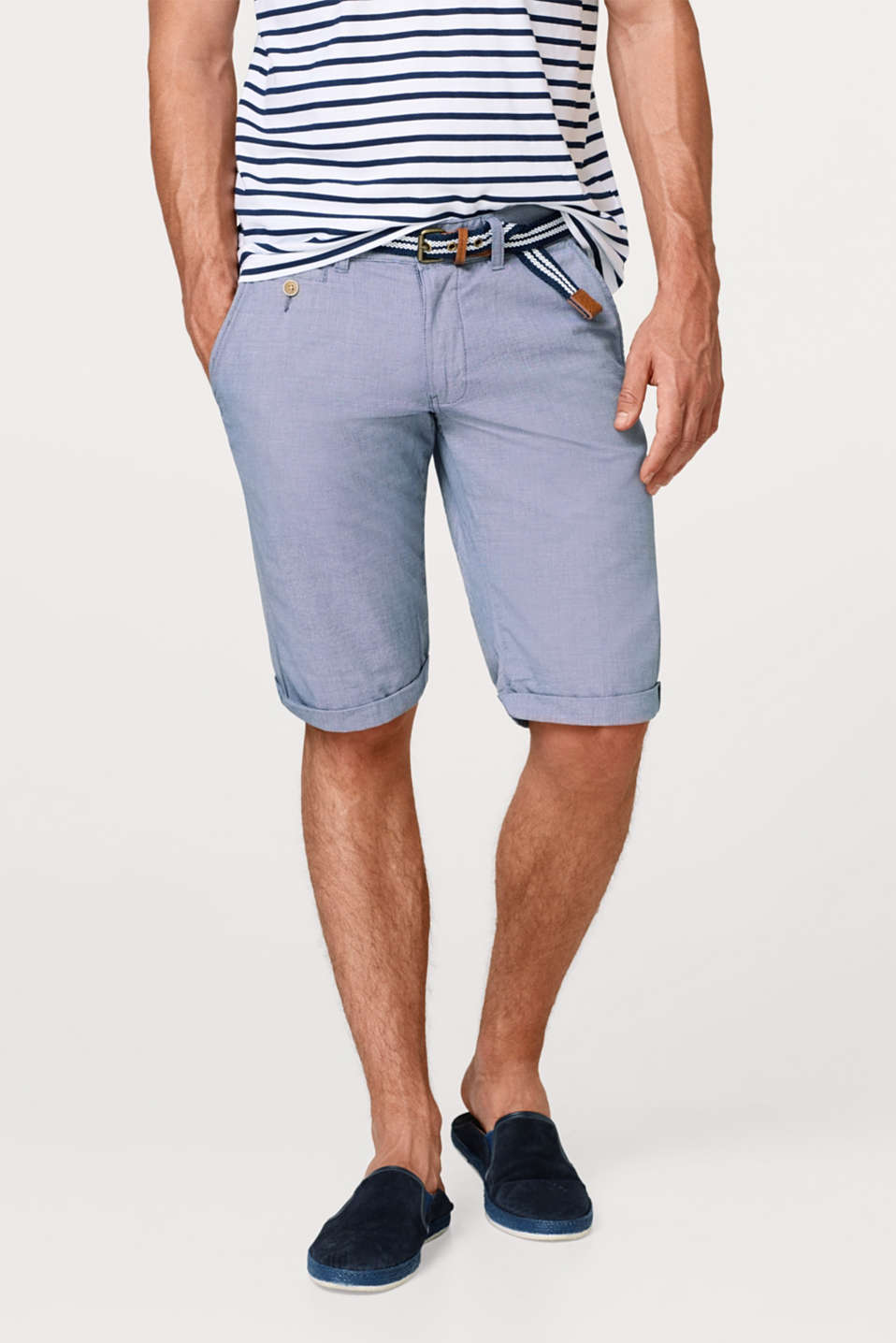 Esprit - Bermuda shorts with a belt, in 100% cotton