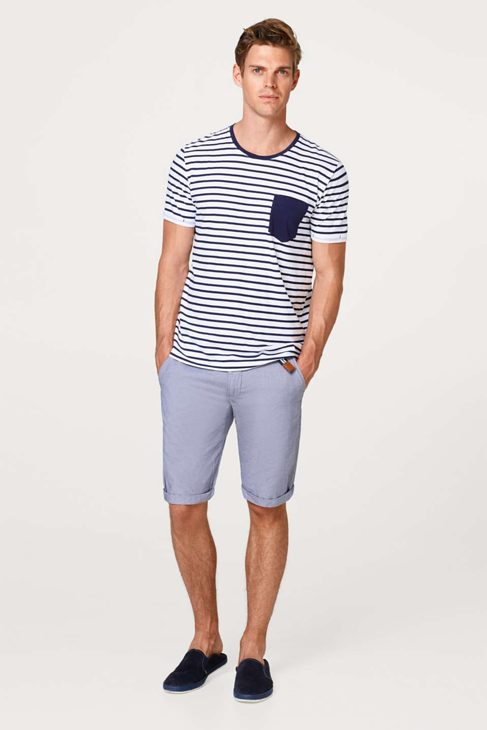 Bermuda shorts with a belt, in 100% cotton