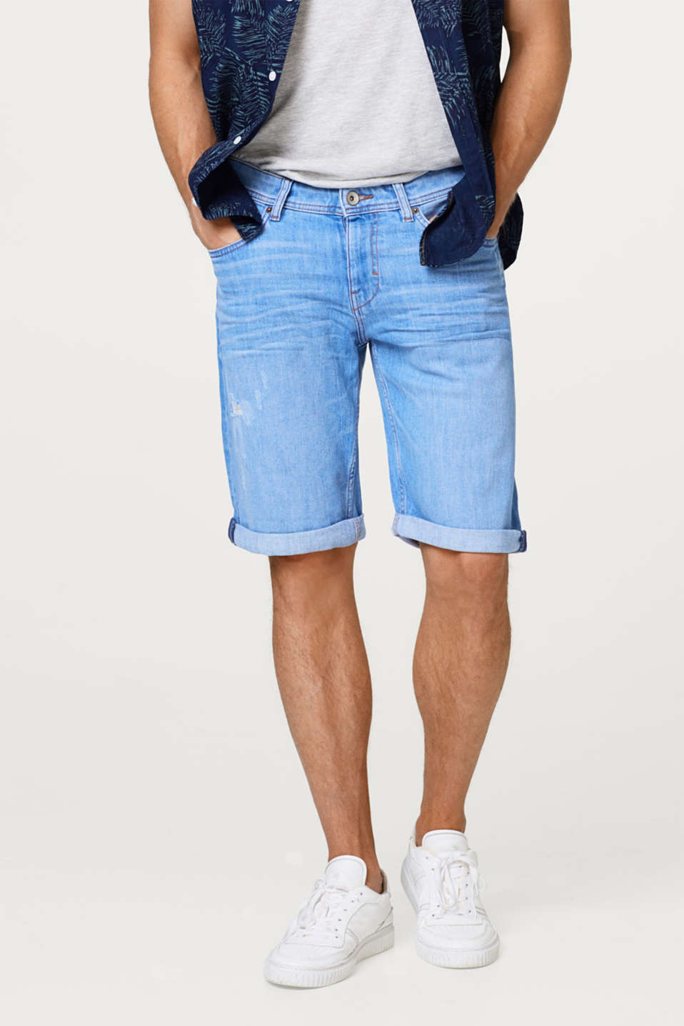 Esprit - Short en jean stretch au look usé