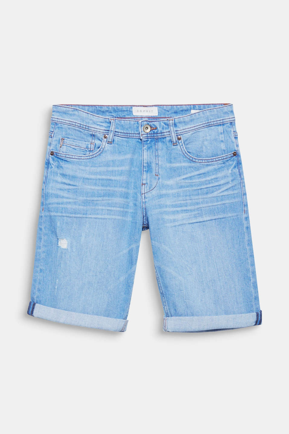 Bold vintage effects and the vibrant blue tone give these denim shorts their distinctive look.