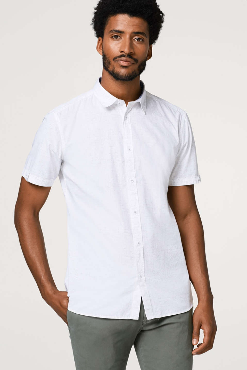 Esprit - Short sleeve shirt with a fine pattern, in cotton
