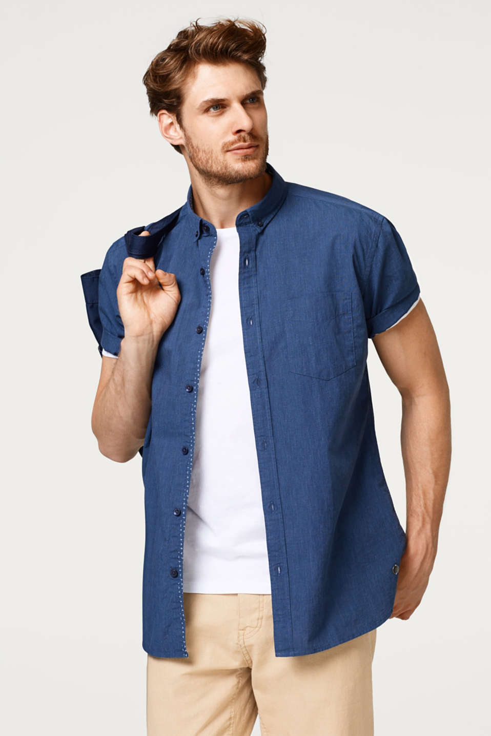 Esprit - Short sleeve cotton shirt with a button-down collar
