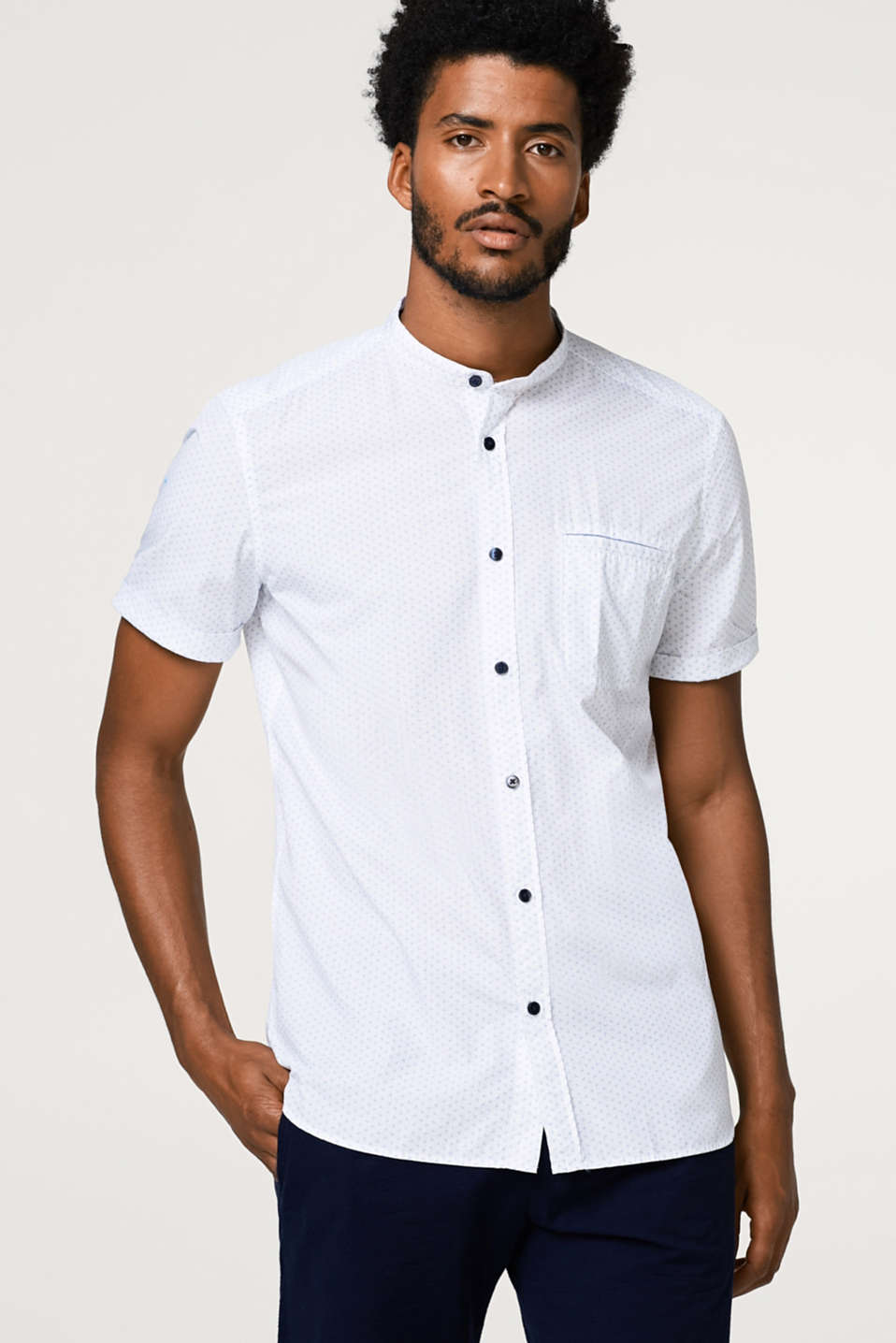 Esprit - Short sleeve shirt with a fine all-over print
